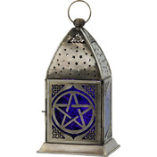 Glass & Metal Lantern  Pentacle Cobalt & Purple