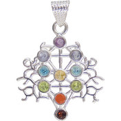 Chakras Pendant Silver Plated Tree of Life  (each)
