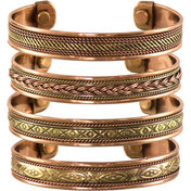Tibetan Copper Bracelet Magnetic India pattern  (Set of 4)