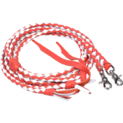 Red and White Braided Leather Split Reins