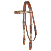 Browband Rawhide Trimmed Chestnut Headstall with Pinwheel Concho
