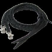 Black Braided Leather Split Reins