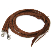 Brown Braided Leather Split Reins