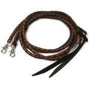 Brown Black Braided Leather Split Reins