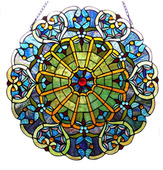 """22"""" H Stained Glass Webbed Heart Window / Wall Panel"""