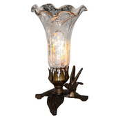 "8"" H Hand Blown Mercury Glass  Lily Lamp w/ Hummingbird Base - Silver"