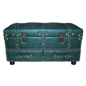 "32"" Wide Faux Leather Trunk-Forest Green"
