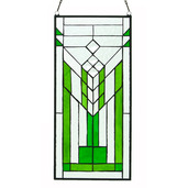"""19.5""""H Stained Glass Mission Green & Clear Window Panel"""