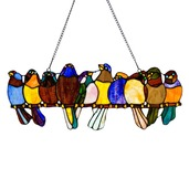 """9.25"""" H Stained Glass Birds on a Wire Window Panel"""