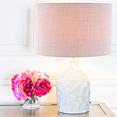 """17.75""""H Light Gray Fabric Table Lamp with Pressed Concrete Base"""