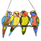"""10.5"""" H Stained Glass Tropical Birds Window Panel"""