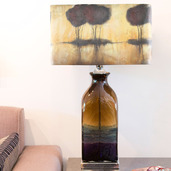 """28""""H Impressionist Collection - Hand painted Shade Table Lamp - Safari Plains"""