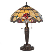 "20.25""H Tiffany Style Stained Glass Vivaldi Table Lamp - Red"
