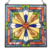 """18"""" Tiffany Style Stained Glass Southwest Sunburst Window Panel"""