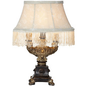 "The Downton Abbey Aristocratic Collection 12.5"" H Fringe Accent Lamp with Ornate Base"