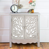 "28""H Willow Tree Two Door  Grey Cabinet with Shelf"