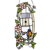 """18"""" H Stained Glass Home Sweet Tweet Window Panel"""