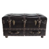"32"" Wide Faux Leather Trunk-Brown"