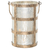 """8""""H Caged Mercury Glass Jar with Lights - Frosted Champagne"""