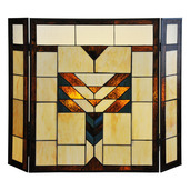 "26"" H Mission Style Stained Glass Fireplace Screen"