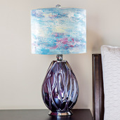 """26""""H Impressionist Collection - Hand painted Shade Table Lamp - Playful Clouds"""