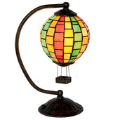 """12"""" H Stained Glass Hot Air Balloon Accent Lamp"""