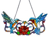 """12"""" H Stained Glass Hummingbird Floral Window Panel"""