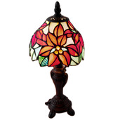 """12.5"""" H Stained Glass Poinsettia Accent Table Lamp"""