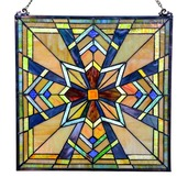 """18"""" Tiffany Style Stained Glass Northern Star Window Panel"""