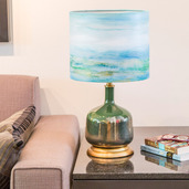 """22.25""""H Impressionist Collection Handpainted Shade Table Lamp - Coastal Seascape"""