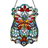 """19"""" H Stained Glass Butterfly Fleurs Window Panel"""