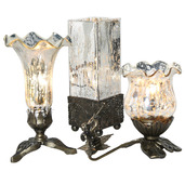 """Set of 3 - 8.5""""H Rectangular Studio Art Glass, 8.25""""H Pond Lily, & 6.25""""H Trumpeting Cherub Tulip Lily Uplight Accent Lamps - Silver"""