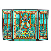 "28""H Tiffany Style Stained Glass Fleur de Lis Fireplace Screen - Green"