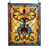"""24"""" H Tiffany Style Stained Glass Firey Hearts and Flowers Window Panel"""