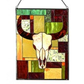 """34"""" Tiffany Style Stained Glass & Jade Rustic Cattle Window Panel"""