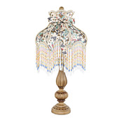 "26.5""H Victorian Floral and Fringe Rustic Table Lamp"