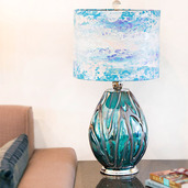 """26""""H Impressionist Collection - Hand painted Shade Table Lamp - Morning Glory"""