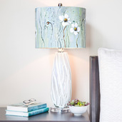 """28.5""""H Impressionist Collection - Hand painted Shade Table Lamp - Jasmine Flower"""