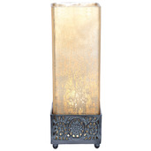 """12.9""""H Studio Art Mercury Glass Square Uplight Accent Lamp - Frosted Champagne"""