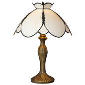 "Downton Abbey Crowned Yorkshire Collection Ivory 17"" H Stained Glass Table Lamp"