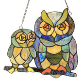 """11"""" H Stained Glass Friendly Owls Window Panel"""