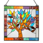 """18"""" H Tiffany Style Stained Glass Mystical World Tree Window Panel"""