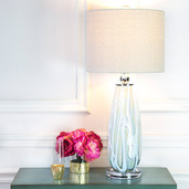 """28.5""""H Sophisticated Serenity Glass and Linen Table Lamp"""