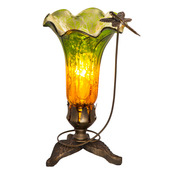 "9"" H Hand Blown Mercury Glass Dragonfly Lily Lamp - Green / Amber"