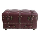 "32"" Wide Faux Leather Trunk-Burgundy"