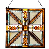 """17.5"""" H Stained Glass Southwestern Mission Style Window Panel"""