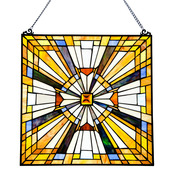 """17.5"""" H Stained Glass Pharaoh's Jeweled Window Panel"""