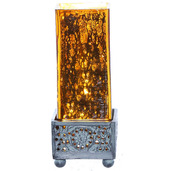 "8.8""H Studio Art Mercury Glass Square Uplight Accent Lamp - Orange"