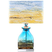 """20.75""""H Impressionist Collection - Hand painted Shade Table Lamp - San Diego Sunrise"""