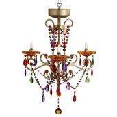 "26.5""H Multi-Color Carnivale 3 Arm Wireless Chandelier with Remote Control"